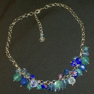 Jewelry - Round Blue Crystal Sphere Bead Silvertone Necklace